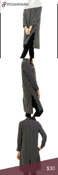 2DAY SALE⭐️Maxi length button down S-2X Love this super tailored Maxi button down top. In black with white vertical stripes, looks amazing on... S-2X sassy bling, paisley vine Tops Button Down Shirts