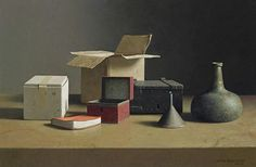 https://flic.kr/p/EQRoKu | Still Life with Boxes, a gren Bottle and a Red Cover Book, 2004 // by Henk Helmantel (NL, b. 1945)