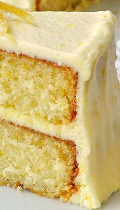 Lemon Velvet Cake Recipe ~ This lemon cake is a perfectly moist and tender crumbed cake with a lemony buttercream frosting!