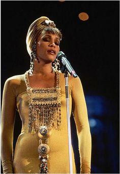 Whitney Houston wearing Marc Bouwer gown