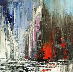 Paisaje abstracto espátula Original pintura decoración de