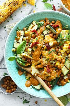 An amazing, light summer dish: 30-minute Zucchini & Grilled Corn Salad with sun-dried tomato vinaigrette! Top with roasted chickpeas for even more protein.