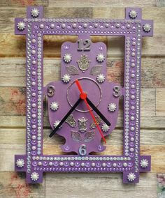 Hamsa Hand Wall Clock Unique Purple Hamsa Clock Unique   Etsy Hamsa Art, Good Luck Symbols, Jewish Gifts, Unique Wall Clocks, Good Luck To You, Wooden Clock, Home Wall Decor, Easter Gift, Special Gifts
