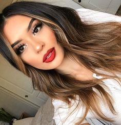📷 red lips ❤ girls ♀ hair, balayage hair и Hair Color And Cut, Ombre Hair Color, Best Ombre Hair, Brown Hair Balayage, Bayalage, Hair Inspo, Dark Hair, Hair Looks, Pretty Hairstyles