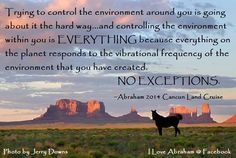 Trying to control the environment around you is going about it the hard way… and controlling the environment within you is EVERYTHING because everything on the planet responds to the vibrational frequency of the environment that you have created, NO EXCEPTIONS! - Abraham