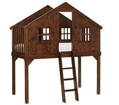 Shop treehouse loft bed from Pottery Barn Kids. Find expertly crafted kids and baby furniture, decor and accessories, including a variety of treehouse loft bed. Kids Tree Forts, Treehouse Loft Bed, Treehouse Ideas, Cabin Loft, Modern Bunk Beds, Kiln Dried Wood, Loft Spaces, Kid Spaces, Small Spaces