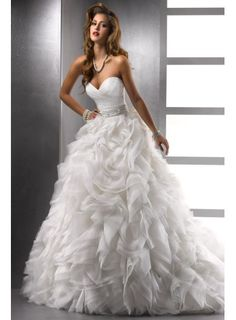 New Designer Beaded Organza Sweetheart A-line Wedding Dress with Ruffled Skirt - WEDDING DRESSES - Wedding Dress UK