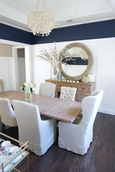 what a luxurious #dining #room design. love the wall color, the
