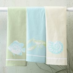 Two's Company Sea Life Dish Towels To Order Call toll-free 877-722-1100