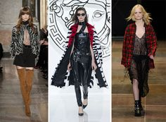 Fall/ Winter 2013-2014 Fashion Trend #4: Grunge Trend: Mixing punk, rock and heavy metal touches, designers got the non-conformist style of the '80s grunge fashion trend for the new fall season, which stands out with lots of black and dark colors, studded leather, latex, mesh stockings and plaid shirts. Emilio Pucci, Rodarte, Vivienne Westwood and Saint Laurent are some of the designers, who used this rebellious style in their collections.