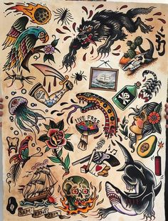 What's your favorite from 1 to Write in the comment by . Traditional Tattoo Reference, Traditional Tattoo Forearm, Traditional Tattoo Old School, Traditional Tattoo Design, Traditional Tattoo Flash, Traditional Tattoo Drawings, Old School Tattoo Sleeve, Desenhos Old School, Vintage Tattoo Design