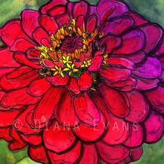 Items similar to Parisian Zinnia - Watercolour Painting Print on Etsy Stencil Painting, Watercolour Painting, Watercolor Flowers, Painting Prints, Painting Flowers, Watercolors, Arte Floral, Ink Art, Flower Art