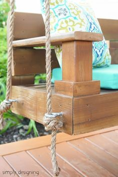 The stain color.Build a porch swing easily with these free DIY plans. Get a list of cuts, supplies, and measurements for the perfect swing and you can start building your own swing this weekend. Build A Dog House, Build Your Own Shed, Building A Porch, Building Plans, Octagon Picnic Table, Ideas Terraza, Swinging Chair, Chair Swing, Swing Beds