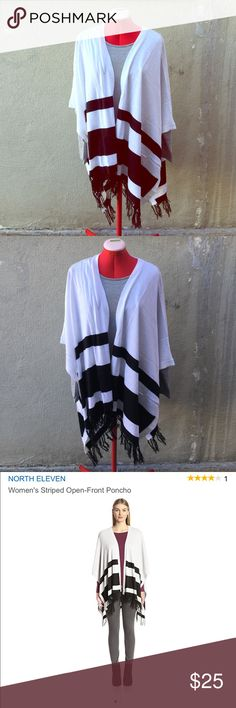 NORTH ELEVEN Striped Open Front Poncho $59 Product Dimensions: 12.1 x 6.7 x 1.3 inches. Retails on Amazon $59 60% Cotton/40% Acrylic Imported Machine wash North Eleven Sweaters Shrugs & Ponchos