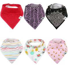 Baby Drool Feeding Bibs 3 Packs Unisex Size Adjustable Embroidery Bandana Bib Double Layer Breathable Cotton Teething Bibs for Babies Super Absorbent Bear