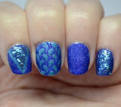 a-england skittle mani, using Whispering Waves and Spirit of the Moors and also featuring Sinful Colors Green Ocean