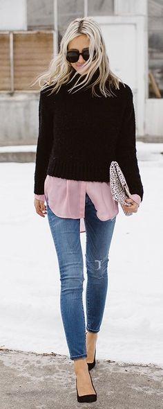 Black Knit / Pink Shirt / Ripped Skinny Jeans / Black Pumps Source
