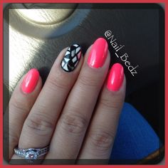 Mosaic accent nail with neon pink polish by @nail_bedz on Instagram & Facebook. Check out my Etsy store!