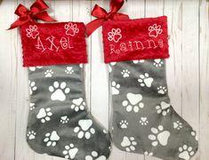 paw print dog stocking dog christmas stocking paw print pet christmas stockings christmas dog - Dog Stockings For Christmas