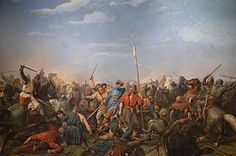 1870 oil on canvas depiction of the Battle of Stamford Bridge by Peter Nicolai Arbo (via wikimedia commons) European History, British History, Saxon Chronicles, Anglo Saxon Chronicle, English Army, Alfred The Great, Norman Conquest, Viking Reenactment, Vikings