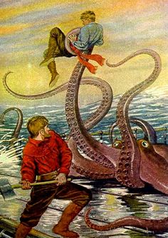Octopus, Jules Verne, Leagues Under the Sea, illustration, vintage Jules Verne, Fantasy Creatures, Mythical Creatures, Science Fiction, Octopus Art, Red Octopus, Giant Squid, Nemo, Illustration Artists