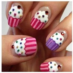 Cupcake finger nail art this is someone's project for tomorrow to do to my nails lol! Cute Nail Art, Easy Nail Art, Beautiful Nail Art, Cute Nails, Pretty Nails, Easy Kids Nails, Simple Nail Art Designs, Cute Nail Designs, Nail Designs For Kids