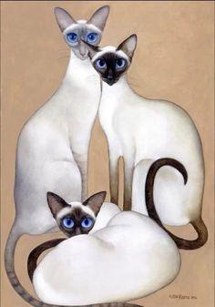 """3 Siamese"" ~ Margaret Keane"