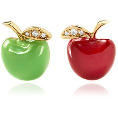 Alison Lou #Apple Stud Earrings ($1,190) ❤ liked on Polyvore featuring jewelry, earrings, red earrings, 14 karat gold earrings, 14k jewelry, green earrings and stud earrings