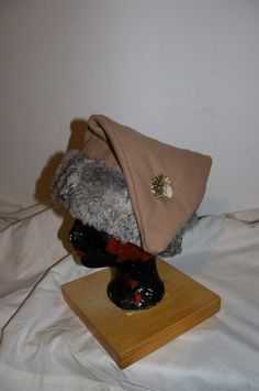 viking conical cap with rabbit fur