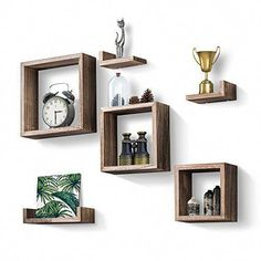 ⚜️ Add charm to your home with Love-KANKEI Floating Shelves Wall Mounted Set of 6 Rustic Wood Shelves Free Grouping with 3 Square Cube Shelves and 3 U Shelves for Bedroom Living Room from Wooden Floating Shelves, Wooden Wall Shelves, Cube Shelves, Wall Shelves Design, Square Floating Shelves, Decorative Wall Shelves, Cube Wall Shelf, Honeycomb Shelves, Hexagon Shelves