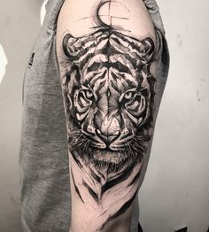Tiger tattoos meaning and design ideas tiger tattoo ideas id Tatuajes Tattoos, Dope Tattoos, Trendy Tattoos, Forearm Tattoos, Body Art Tattoos, Hand Tattoos, Tattoos For Guys, Tattoo Thigh, Tattoo On