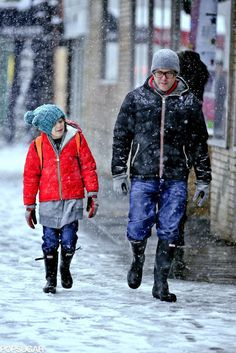 Matthew Broderick with his son, James, wearing Hunter boots.