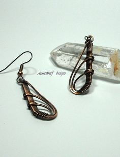 Antiqued Copper Wire Wrapped Dangle Earrings by AussenWolfDesigns, $18.00