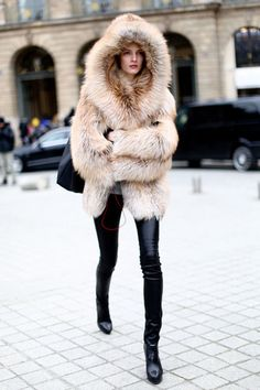 Daria Strokous street style. oversized fur coat. Great shapes, proportions and contrasts.   http://www.pinterest.com/JessicaMpins/