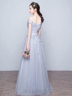 New A-line Gray Tulle Appliques Lace Off-the-shoulder Prom Dresses