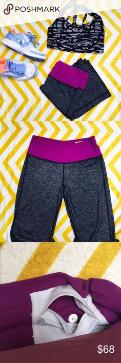 Lulu Lemon Astro Pant Size 6 Like New Astro pant by lululemon. Grey pant with purple angled waistband that stays in place throughout your workout. Relaxed fit bottom hem. Hidden key pocket. Fabric is soft and airy, yet sweat wicking. Excellent gently used condition. No flaws or signs of wear. lululemon athletica Pants