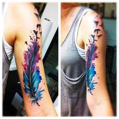 Акварельные татуировки | 90 фотографий