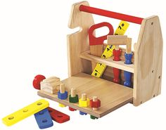 Hongji Toys Wooden Work Bench Playset - Includes Ruler, Saw, Hammer, Wrench, Screwdriver & Blocks - Suitable for Ages 3 Years and Up Wooden Easel, Wooden Diy, Wooden Work Bench, Wooden Building Blocks, Problem Solving Skills, Diy Tools, Diy Kits, Toy Chest, Toddler Bed