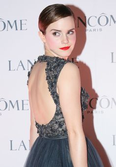 Emma Watson in Elie Saab Haute Couture A/W 2011-2012 collection at a promotional event for Lancôme, December 2011
