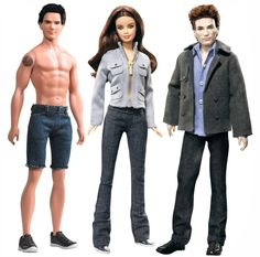 """'Jacob,' 'Bella' & 'Edward' 'Twilight' (We had to include the pic w/ 'Jacob,' that comes shirtless)   When Mattel announced they were creating a 'Katniss Everdeen' Barbie doll (of """"The Hunger Games"""" series fame), we were overjoyed   So, are there even more Barbies based on books? Actually, yes, there are quite a few & they're all really awesome. Too bad most of them are no longer available."""