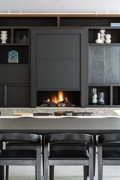 FIRE + CEPPO, voorbeeld haarden op maat Fireplace Wall, Fireplace Ideas, Interior Concept, Gas Fires, Wine Storage, Hearth, My Dream Home, Floating Shelves, Stove