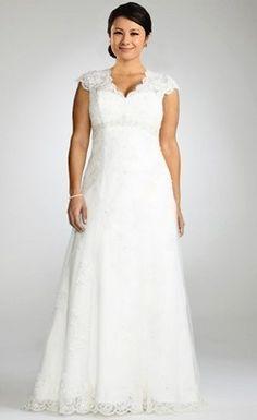 Charming Empire V-neck Beaded Lace Plus Size Wedding Dress