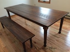 """Custom built farm table, made in New Hampshire. This table was 8' long in our circular sawn finish stained in Walnut, with a matching bench. These pieces are from our """"Heirloom Collection"""" https://www.facebook.com/AVintageWren"""