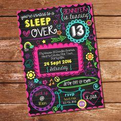 Neon Sleepover Invitation - Tween Girls - Sleep Over Party - Slumber Party Invitation - Instant Down Sleepover Birthday Parties, Girl Sleepover, Birthday Party For Teens, Birthday Party Themes, Girl Birthday, 12th Birthday, Tween Party Ideas, Teen Party Themes, Birthday Ideas
