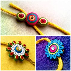 easy quilling rakhi designs - We have 15 best ideas to make Rakhi at home for Rakshabandhan - Perfect rakhi ideas for kids to make, rakhi competition, best of waste, simple and handmade with detailed step by step images- ArtsyCraftsyMom Paper Quilling Jewelry, Quilling Earrings, Paper Quilling Designs, Quilling Patterns, Quilling Art, Quilling Ideas, Holiday Crafts For Kids, Craft Projects For Kids, Crafts For Kids To Make