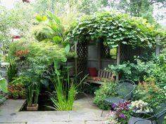 gartengestaltung gartenpflanzen gartenmöbel kleiner teich