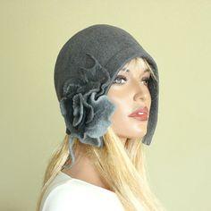 Gris feutre chapeau feutrée bonnet chapeau feutre par ZiemskaArt