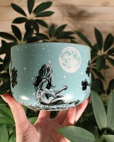 Pottery  Stoneware Bottle with Colorful Hand Painted Fox in the Bushes