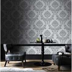 Dynasty Silver / Grey Wallpaper by Graham and Brown Silver Grey Wallpaper, Plain Wallpaper, Cheap Wallpaper, Brick Wallpaper, Wallpaper Ideas, Geometric Wallpaper Decor, Damask Wallpaper, Designer Wallpaper, Brown And Cream Living Room