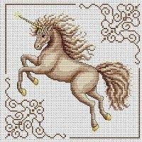 Graceful, beautiful unicorn cross stitch pattern.   Love those golden hooves!   {pattern here}